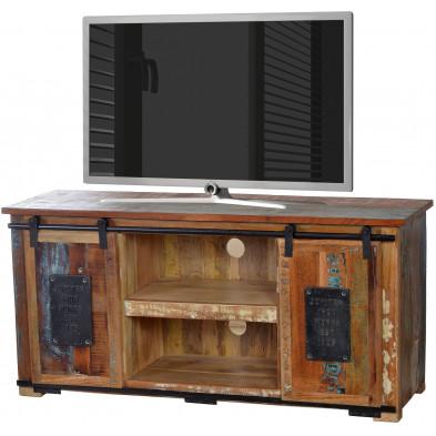 Meuble TV rustique en bois recyclé multicolore et en métal avec 2 portes et 3 tiroirs L. 130 x P. 40 x H. 63 cm collection Ebersole