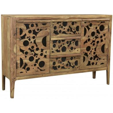 Bahut rustique avec 3 tiroir et 2 portes en bois massif sheesham et mdf L. 120 x P. 38 x H. 85 cm collection Restrain