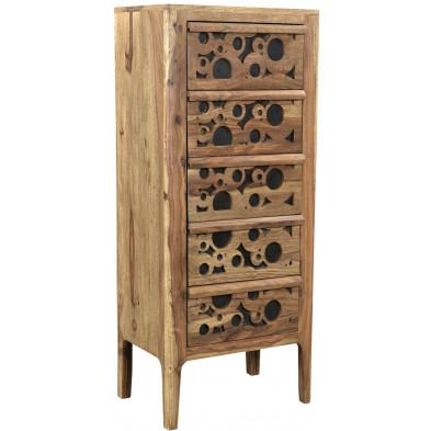 Commode rustique avec 5 tiroirs en bois massif sheesham et mdf  L. 45 x P. 35 x H. 120 cm collection Restrain