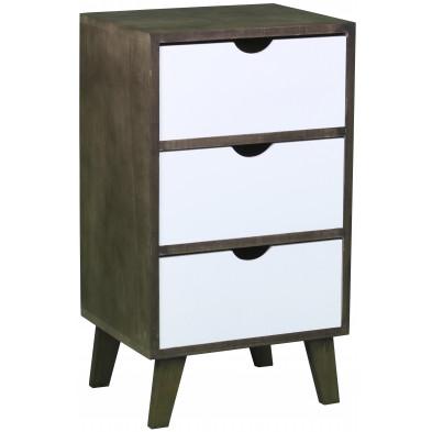 Chevet haut design scandinave en bois mdf avec 3 tiroirs en coloris marron et blanc  L. 36 x P. 29.5 x H. 64 cm collection Wijnia