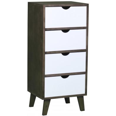 Commode design scandinave en bois mdf avec 4 tiroirs en coloris marron et blanc L. 36 x P. 29.5 x H. 80.5 cm collection Wijnia
