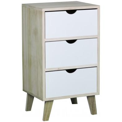 Chevet haut design scandinave en bois mdf avec 3 tiroirs en coloris beige et blanc  L. 36 x P. 30 x H. 64 cm collection Wijnia