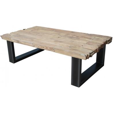 Table basse rustique en bois massif teck et piètement en acier  L. 130 x P. 70 x H. 40 cm collection Havertonhill