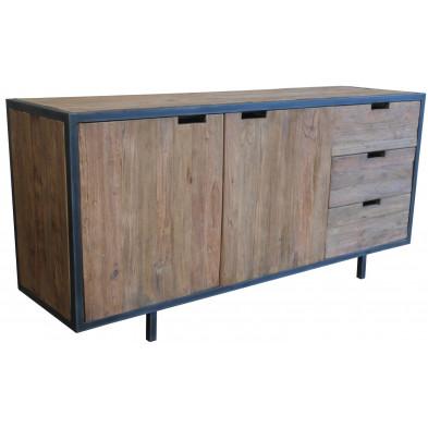 Bahut marron rustique en bois massif teck et acier avec 3 tiroirs et 2 portes L. 180 x P. 50 x H. 85 cm collection Renew