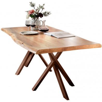 Table de salle à manger rustique  en bois massif avec piétement en métal marron et une épaisseur plateau de 56 mm  L. 160 x P. 85 x H. 76 cm collection Basberg