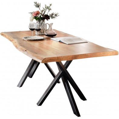 Table de salle à manger rustique en bois massif avec piétement en métal noir et une épaisseur plateau de 56 mm L. 200 x P. 100 x H. 76 cm collection Basberg