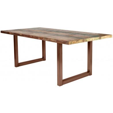 Table de salle à manger rustique en bois massif naturel avec piétement en métal marron et une épaisseur plateau de 40 mm L. 200 x P. 100 x H. 77 cm collection Quicksand