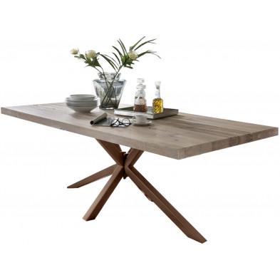 Table de salle à manger rustique en bois massif chêne avec piétement en métal marron et une épaisseur plateau de 60 mm L. 180 x P. 100 x H. 80 cm collection Inflate