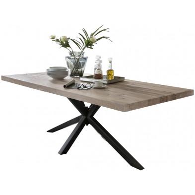 Table de salle à manger rustique en bois massif chêne avec piétement en métal noir et une épaisseur plateau de 60 mm L. 220 x P. 100 x H. 80 cm collection Inflate