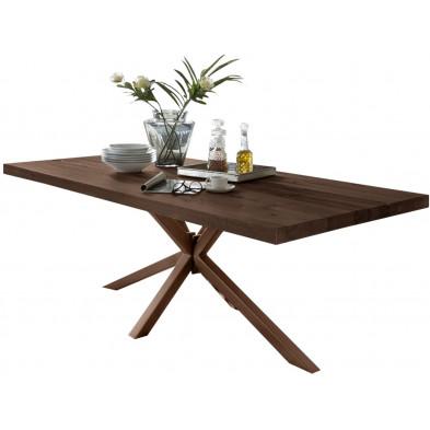 Table de salle à manger rustique en bois massif marron foncé avec piétement en métal marron et une épaisseur plateau de 60 mm L. 220 x P. 100 x H. 80 cm collection  Daleofwalls