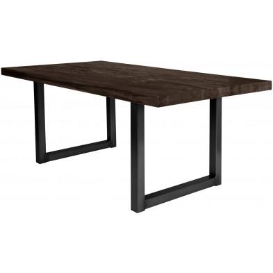 Table de salle à manger rustique en bois massif marron foncé avec piétement en métal noir et une épaisseur plateau de 60 mm L. 240 x P. 100 x H. 80 cm collection Friends