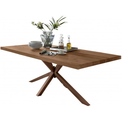 Table de salle à manger rustique avec plateau en chêne massif marron de 6 cm d'épaisseur avec piètement en acier croisé solide L. 200 x P. 100 x H. 80 cm collection Delaes