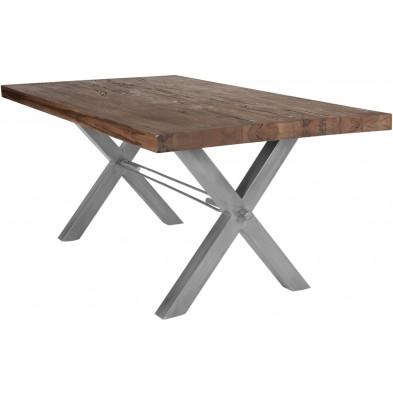 Table de salle à manger rustique en bois massif marron avec piétement en métal gris et une épaisseur plateau de 60 mm L. 180 x P. 100 x H. 79 cm collection Fontanellato