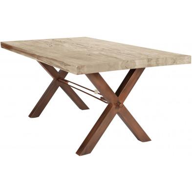 Table de salle à manger rustique en bois massif avec piétement en métal marron et une épaisseur plateau de 60 mm L. 180 x P. 100 x H. 79 cm collection Earthy