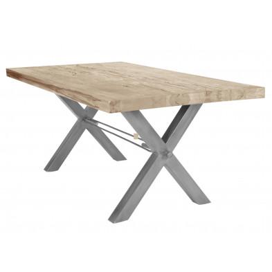 Table de salle à manger rustique en bois massif avec piétement en métal gris et une épaisseur plateau de 60 mm L. 180 x P. 100 x H. 79 cm collection Earthy