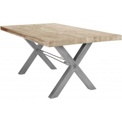 Table de salle à manger rustique en bois massif avec piétement en métal gris et une épaisseur plateau de 60 mm L. 220 x P. 100 x H. 79 cm collection Earthy