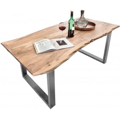 Table de salle à manger rustique en bois massif avec piétement en acier gris et une épaisseur plateau de 36 mm L. 180 x P. 90 x H. 76 cm collection Alliance
