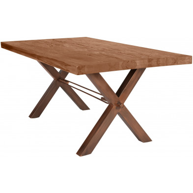 Table de salle à manger rustique en bois massif marron avec piétement en acier marron et une épaisseur plateau de 60 mm L. 180 x P. 100 x H. 78 cm collection Viraaj