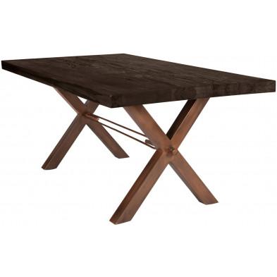 Table de salle à manger marron foncé rustique en avec plateau en bois massif avec une épaisseur plateau de 6cm et piètement croisé en acier L. 180 x P. 100 x H. 78 cm collection Instruct
