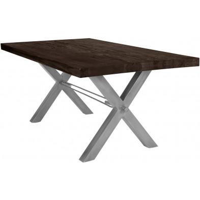 Table de salle à manger rustique avec plateau en chêne massif marron foncé de 6 cm d'épaisseur avec piètement en acier croisé gris solide L. 220 x P. 100 x H. 78 cm collection Instruct