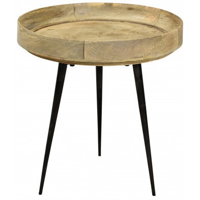 Table basse à plateau rond ø 40 cm en bois de manguier coloris naturel collection Grammene