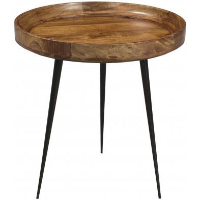 Table d'appoint à plateau rond ø 50 cm en bois de manguier coloris marron collection Grammene