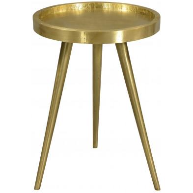 Table d'appoint à plateau rond ø 37 cm en bois de manguier et métal doré collection Ginosa