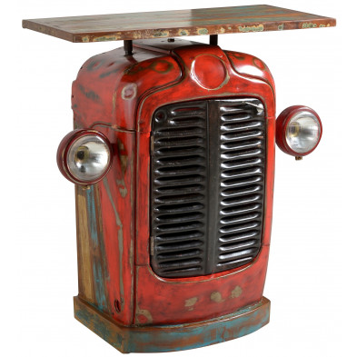 Table de bar face avant de tracteur style vintage avec 2 portes coloris rouge L. 80 x P. 40 x H. 90 cm collection Brainy