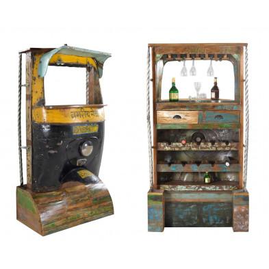 Meuble bar face avant tuk-tuk style vintage avec 2 tiroirs et 10 compartiments bouteilles coloris noir et jaune L. 97 x P. 52 x H. 180 cm collection Areias