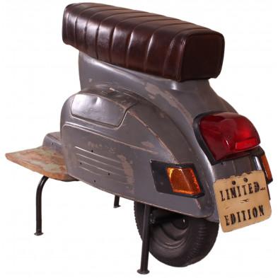 Tabouret de bar scooter vintage coloris gris anthracite et marron L. 103 x P. 50 x H. 80 cm collection Powerful