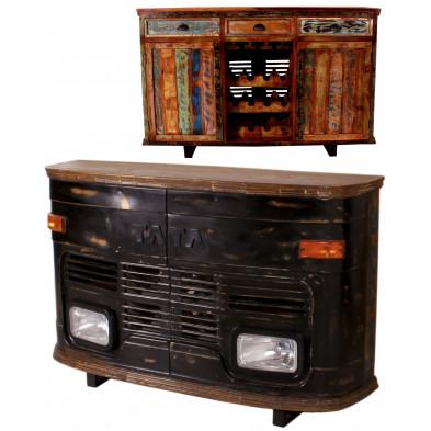 Meuble bar face avant de bus TATA style vintage avec 2 portes et 3 tiroirs coloris noir antique  L. 160 x P. 45 x H. 105 cm collection Stromberg