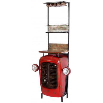 Meuble bar tracteur style vintage avec 1 porte 2 étagères et 9 compartiments bouteilles coloris rouge L. 48 x P. 44 x H. 190 cm collection Brainy