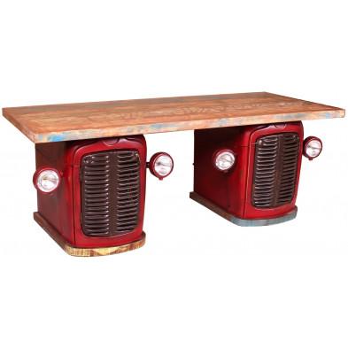 Bureau tracteur style vintage en bois de rebut avec 4 portes et 2 tiroirs coloris rouge L. 200 x P. 90 x H. 76 cm collection Brainy