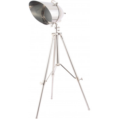 Lampadaire trépied style industriel en métal et en aluminium coloris argenté L. 91 x P. 91 x H. 185 cm collection Yawn