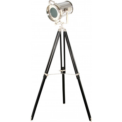 Lampadaire trépied style industriel en métal brossé coloris argent L. 33 x P. 35.5 x H. 159 cm collection Joines