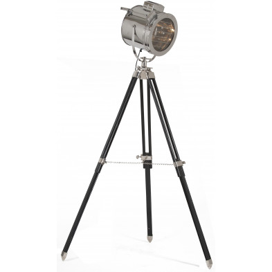 Lampadaire trépied style industriel en acier brossé coloris argent L. 32 x P. 32 x H. 184 cm collection Joines