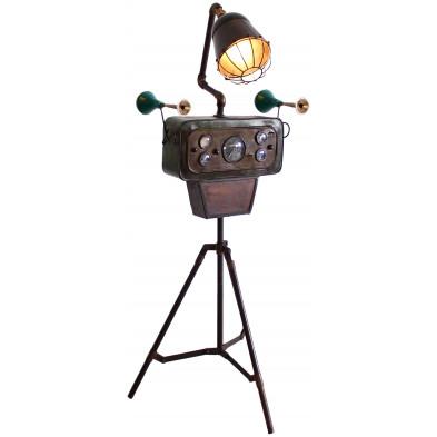 Lampadaire trépied style vintage et industriel en acier coloris marron L. 68 x P. 45 x H. 165 cm collection Whistle