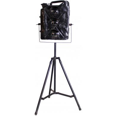 Lampadaire trépied style industriel en acier coloris noir L. 70 x P. 70 x H. 135 cm collection Boersma