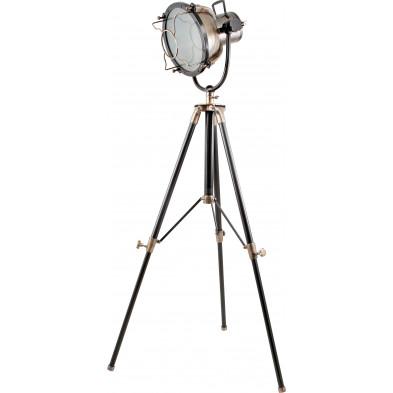 Lampadaire trépied style industriel en aluminium coloris noir et bronze L. 42 x P. 40 x H. 184 cm collection Middletown