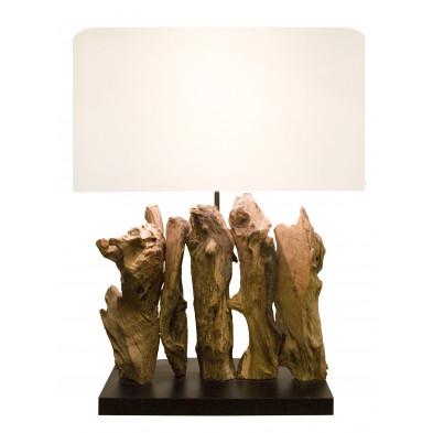 Lampe à poser en bois recyclé avec abat-jour en lin coloris blanc cassé L. 40 x P. 20 x H. 50 cm collection Radway