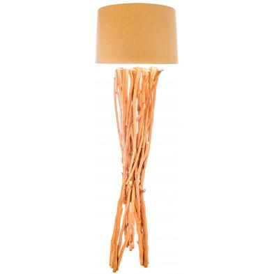 Lampadaire style rustique en bois recyclé coloris naturel avec abat-jour blanc L. 50 x P. 45 x H. 160 cm collection Bijleveld