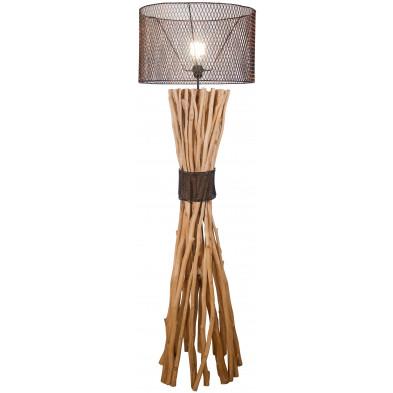 Lampadaire style rustique et industriel en bois recyclé coloris naturel avec abat-jour en métal L. 45 x P. 45 x H. 140 cm collection Plead