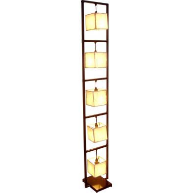 Lampadaire à 5 lanternes en cuir et structure en fer coloris noir L. 25.5 x P. 23 x H. 158 cm collection Bwlchyddar