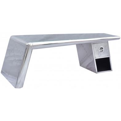 Table basse design en bois et aluminium avec 1 tiroir coloris argent L. 132 x P. 60 x H. 45 cm collection Sashay