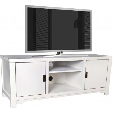 Meuble TV asiatique 2 portes et 2 niches ouvertes en bois de peuplier coloris blanc L. 140 x P. 48 x H. 55 cm collection Bibon