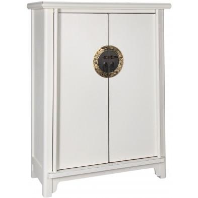Meuble cabinet chinois 2 portes en bois de peuplier coloris blanc L. 77 x P. 38 x H. 105 cm collection Bibon
