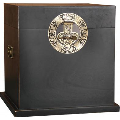 Coffre de rangement chinois avec 1 rabat en bois de peuplier coloris noir L. 48 x P. 48 x H. 48 cm collection Bibon