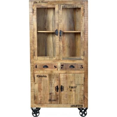Vitrine en bois massif de manguier avec 4 portes et 2 tiroirs coloris antique L. 90 x P. 40 x H. 180 cm collection Ronse
