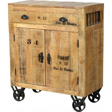 Buffet en bois massif de manguier avec 2 portes et 1 tiroir coloris antique L. 80 x P. 40 x H. 95 cm collection Ronse