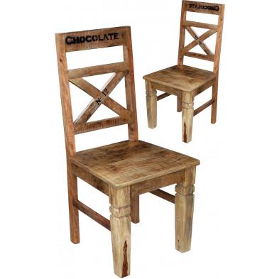 Lot de 2 chaises vintage en bois de manguier coloris naturel antique L. 45 x P. 45 x H. 100 cm collection Ronse